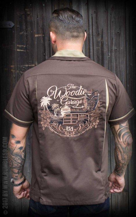 Bowling Shirt The Woodie Garage - brown